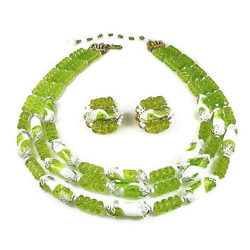 Hobe Necklace Earrings Foil Glass Lucite Chartreuse Lime Green White Vintage Jewelry Set