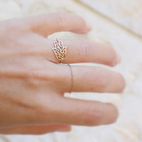Gold Hamsa Ring - 14k gold filled filigree hamsa ring, gold sideways hamsa ring, evil eye charm, gift for her, charm ring