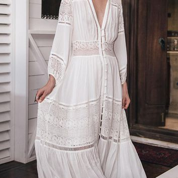 White V Neck Crochet Lace Panel Button Front Maxi Dress