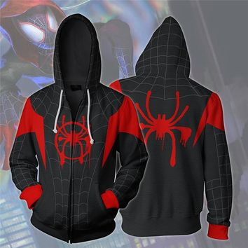 Superhero Spiderman Cosplay Costume Men's Sweatshirt Hooded Uniform Streetwear Women Mens Hoodies Zipper Hoddies