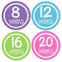 Pregnancy Stickers Week Baby Bump Stickers Weekly Belly Stickers Hot Pink Green Purple Blue Maternity Photo Prop for Expectant Moms -Nona