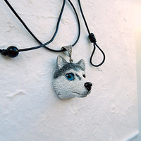Siberian Husky head necklace, husky charm necklace, black siberian husky, Blue Eyes Huskies, Siberian Husky jewelry, husky pendant,dog totem