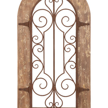 Wooden And Metal Wall Panel With Stately Design & Antiqued Look