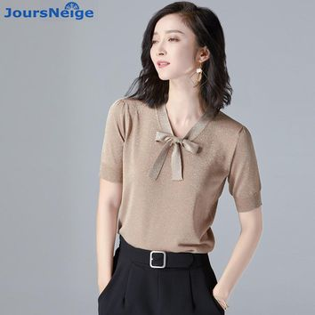 JoursNeige Knitted Pullovers Women Tops 2018 New Summer Style V-Neck Short Sleeve Tie Bow Pull Femme Jumper Knitwear Sweaters