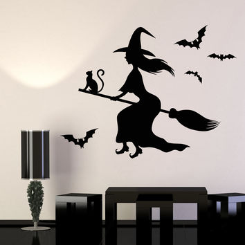 Vinyl Wall Decal Witch Black Magic Cat Besom Halloween Stickers Unique Gift (980ig)