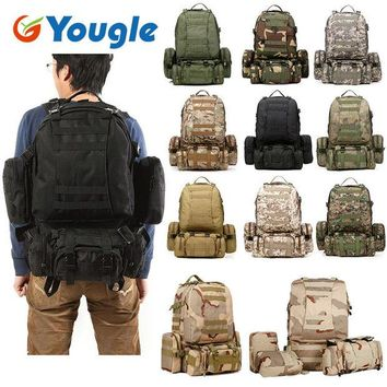 DCCKF4S YOUGLE 50L Molle Tactical Outdoor Assault Military Rucksacks Backpack Camping Bag New