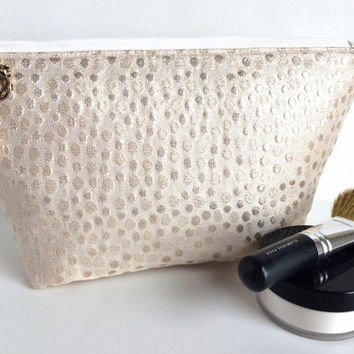 Bridal Bag, Brides Makeup Bag, Wedding Day Bag, Bridal Shower Gift, Metallic Makeup Bag, Rose Gold Makeup Bag, Metallic Zipper Pouch