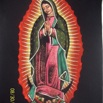 Virgen de Guadalupe Our lady of Guadalupe black velvet original oil painting handpainted signed art 18 by 24 inches