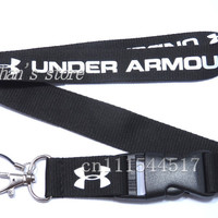 FREE SHIPPING Men Amour neck lanyard for keys Brand LOGO Under keychains strap black