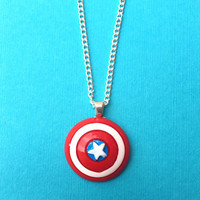 "Handmade ""Captain America"" Shield Inspired Necklace - Red White and Bloom Collection Super Hero Comic"