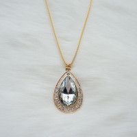 Long gold necklace with a grey crystal tear pendant,Gold plated necklace,Long necklace,Fashion necklace,Prom necklace,Unique necklace,