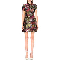 VALENTINO - Leather-collar floral-brocade dress | Selfridges.com