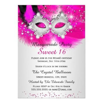 Best masquerade invitations products on wanelo sweet 16 lace mask hot pink silver masquerade 45x625 paper inv solutioingenieria