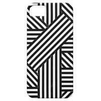 Trendy Cool Black White Abstract Geometric Stripes iPhone 5 Case