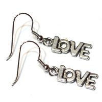 LOVE Earrings - silver plated charm earrings / holiday earrings / valentines / womens jewelry / charm earrings