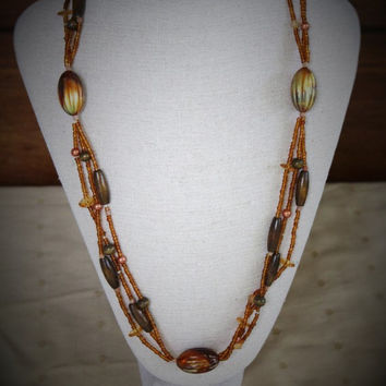 Beaded Multi Strand Orange and Brown Bead Necklace Vintage Boho Hippie Autumn