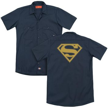 Superman - Maize & Blue Shield (Back Print) Adult Work Shirt