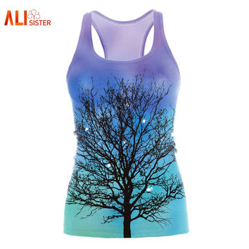 Alisister 3d Tree Tank Top Women Summer Galaxy Print Sleeveless Vest 2017 Sexy Blouses Free Size Bodybuilding Dropship Clothing