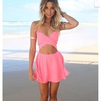 Pink Halter Cut-Out Mini Dress
