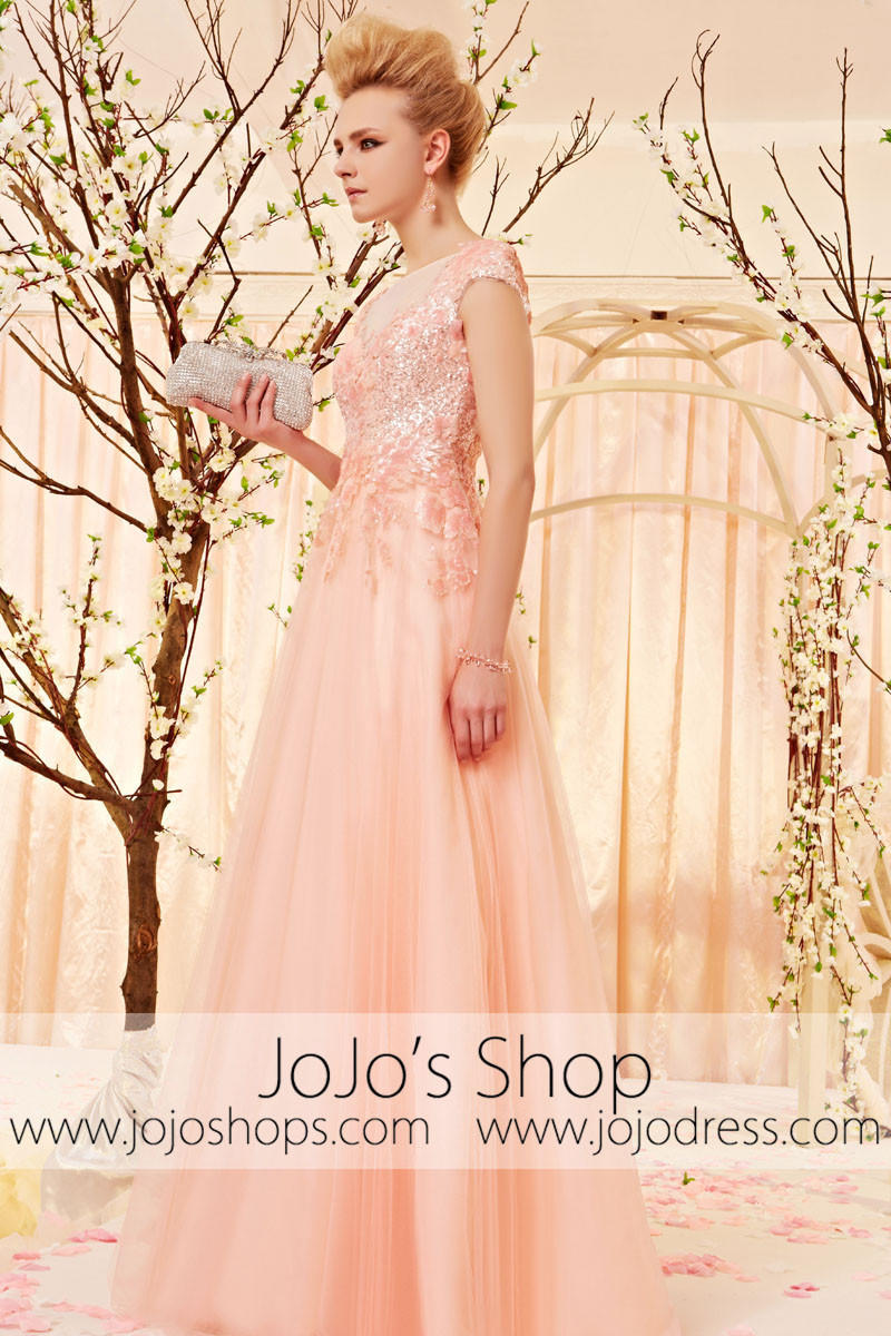 ad37596a36 Cherry Blossom Pink Formal Prom Evening Dress with Cap Sleeves CX830501