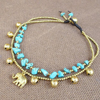 2 Strand Turquoise Stone Brass Bead Ankle Bracelet added Elephant Charm