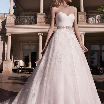 Casablanca Bridal 2136 Strapless Embroidered Tulle A-Line Wedding Dress