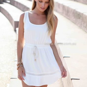 NEW EDITION DRESS , DRESSES, TOPS, BOTTOMS, JACKETS & JUMPERS, ACCESSORIES, 50% OFF SALE, PRE ORDER, NEW ARRIVALS, PLAYSUIT, COLOUR, GIFT VOUCHER,,White,LACE,SLEEVELESS,MINI Australia, Queensland, Brisbane