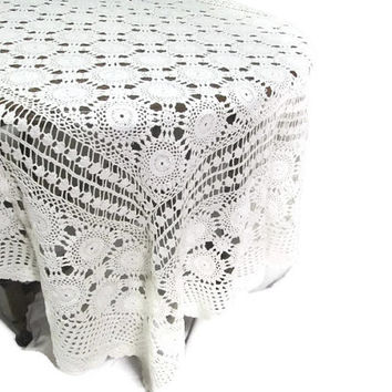 "Vintage Crochet Lace Tablecloth Vintage Linens Hand Crocheted White Table Linens Table Cloth 63""x76"""