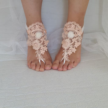 peach, black. lace wedding sandals, free shipping!