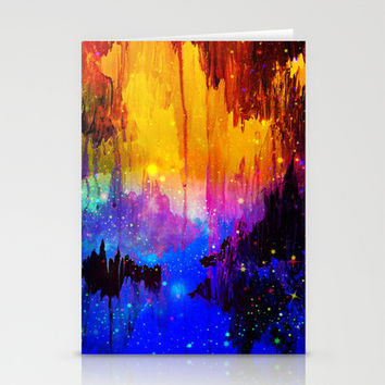 CASTLES IN THE MIST Magical Abstract Acrylic Painting Mixed Media Fantasy Cosmic Colorful Galaxy  Stationery Cards by EbiEmporium