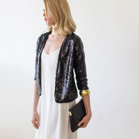 Birthday SALE Black sequin Jacket , Long sleeves sequin jacket,  black sequin blazer,  Black women jacket