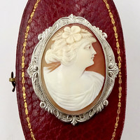 Art Deco Belais 10K White Gold Carved shell Cameo Pin Pendant