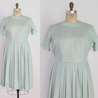 50s GINGHAM Cotton Day DRESS / 1950s Pale Aqua & Gray Check Dress L