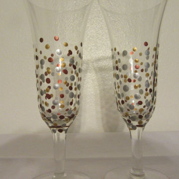 Hand Painted Champagne Flutes in Gold, Silver, and Bronze Accents