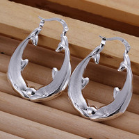 exo silver plated earrings Hollow Fish Shaped hoop brinco floating charms MP