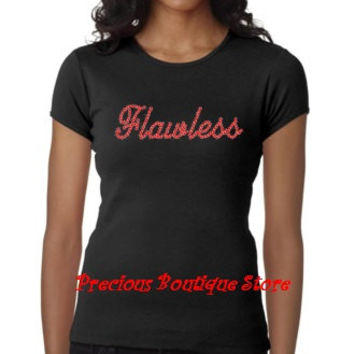 Flawless Cursive Red Rhinestone Shirt