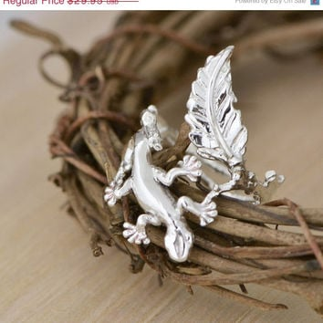 SALE Lizard Ring - Gecko Ring - Silver Ring - Lizard Jewelry - Gecko Fashion - Branch Ring - Nature Jewelry