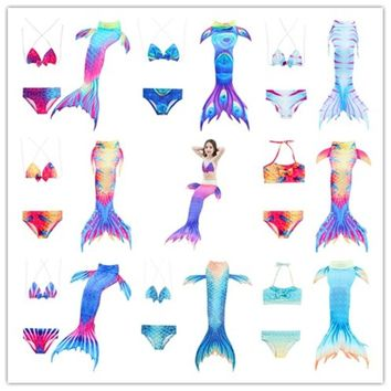 3pcs Children Swimming Mermaid Tails Without Monofin Fin Cosplay Costume Girls Kids Swimsuit Swimmable Mermaid Tail for Swimming