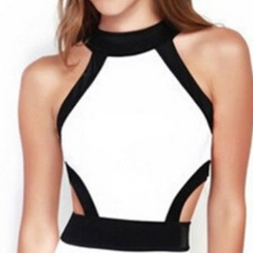 Watch Your Back White Black Cut Out Sleeveless Scoop Neck Halter One Piece Monokini Swimsuit