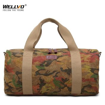 Men Canvas Travel Bag Carry on Luggage Duffel Bags for male Large Travel Tote Camouflage Weekend Crossbody Bag Overnight XA115WC
