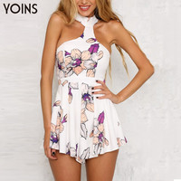 YOINS Sexy Halter Neck Floral Print Sleeveless Jumpsuit Romper 2017 Summer Fashion High Waist Elegant Playsuit Overalls Shorts
