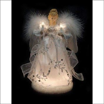 """Vickerman Ice Palace Lighted White and Silver Angel Christmas Tree Topper with Clear Lights, 12"""""""