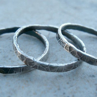 Fine Silver Stacking Rings Set of Three Rustic  Oxidized Jewelry