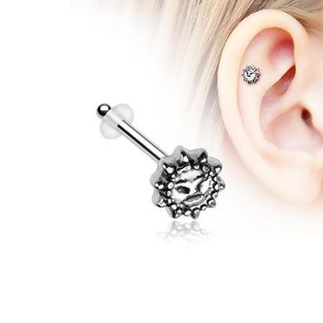 Antique Mythical Sun Face Piercing Stud with O-Rings