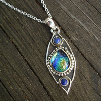 Blue necklace, lapis lazuli, green necklace, dichroic glass, mystic, sterling silver,