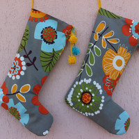 2 Christmas Stockings Modern Christmas Stockings Yellow christmas Stocking Set Retro Christmas Stockings EXPRESS SHIPPING Ready to Shipping