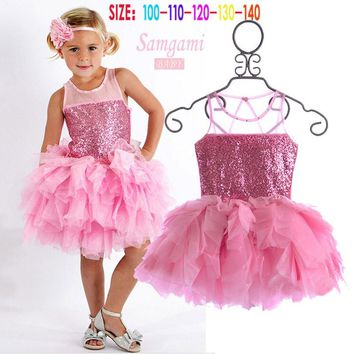 Baby Girls' clothes dress 2017 fashion Brand New Girl princess children's birthday party sequined pink tutu summer Cake Dresses