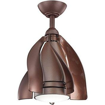 Kichler 310215TZP Terna LED Patio Tannery Bronze Powder Coat 15 inch Outdoor Ceiling Fan with Light & R