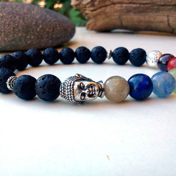 Fashion Mens /Woman's Lava Rock Beaded Root Chakra Bracelet 7 Chakra Buddha Lotus Flower Yoga Meditation Bracelet Mala Beads