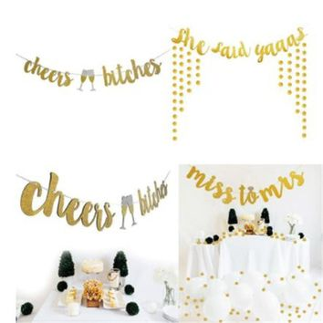 Cheers Bitches Glittery Gold Flag Banner Bunting Bridal Shower Bachelorette Hen Party Wedding Photography Decoration